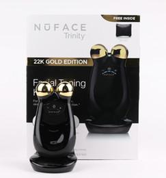 blu macchina palle Sconti Nuface Trinity PRO Face Massager Beauty 22K Gold Edition in oro nero con pacchetto di vendita al dettaglio e qualità DHL gratuita