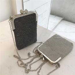 sacos das senhoras do diamante Desconto Alta Qualidade Moda Diamond Luxury Mini Phone Bag Ladies Handbag Shoulder carteira bolsa prata embreagem noite sacos Bolsa