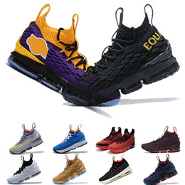 tênis de basquete tamanho 15 Desconto Novo 15 15 s mens sapatos de Basquete Igualdade Lakers Preta Vinho Branco Graffiti Lakers Chuva Roxa CAVS Heights designer shoes formadores tamanho 7-13