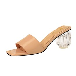 2019 dicke kreuzriemenfersen High Heel Schuhe Frauen Cross Strap Blockabsatz Wedges Sandale Dicke hochhackige Flip Flop Open Toe Slipper günstig dicke kreuzriemenfersen