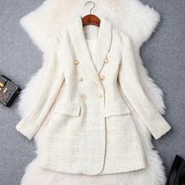2020 lungo cappotto di tweed Pista 2019 del progettista delle donne Blazer Button Doppio Petto metallo manica lunga intaglio rivestimento del collare misto lana tweed Blazer Coat lungo cappotto di tweed economici