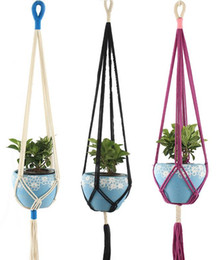 piante da giardino viola Sconti Macrame Plant Hangers Indoor Outdoor Hanging Fioriera Cesto Juta Flowerpot Garden Tools Novità Home Decor bianco viola nero