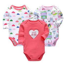 chineses onesies Desconto Bodysuit recém-nascido bebê bebês bebes roupas de manga longa impressão de algodão infantil roupas 3 pçs / lote 0-24 Meses