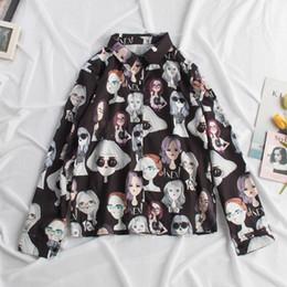 blusa de solapa blusa suelta tops Rebajas Verano de Las Mujeres Estampado Floral Camisas de Gasa de Fitness de Manga Larga Blusa Suelta Camiseta de Solapa Casual Tops Mujeres Temperamento Retro Tops