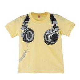 Летние наушники онлайн-Boy Kids Summer Повседневные наушники с коротким рукавом Блузки Рубашка Футболки Одежда
