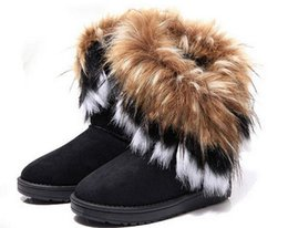 long boots flat heel Coupons - Fashion Fox Fur Warm Autumn Winter Wedges Snow Women Boots Shoes GenuineI Mitation Lady Short Boots Casual Long Snow Shoes size 36-40