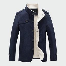 2019 jaqueta de lã forrada de lã Homens de inverno Casaco de Moda Forrado de Lã Grosso Casacos de Lã Quentes Casaco de Lã Masculino Mistura de Lã Jaquetas Roupas de Marca dos homens ML048 jaqueta de lã forrada de lã barato