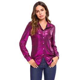 Canada Nouvelle Arrivée Chic Étincelante Chemises Femmes Blouses Élégant À Manches Longues T-Shirt Dames Hauts Casual Bouton Blouses Streetwear Blusas MT2860 Offre