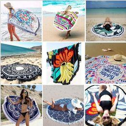 Grande tecido de estampas florais on-line-Borla grande rodada toalha de praia estilo boêmio tecido de seda artificial nova moda verão senhoras borla toalha de praia toalha de praia almofada de impressão s