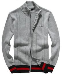 Venta caliente clásico de alta calidad suéter otoño invierno nuevos hombres suéter suéter medio alto cuello zip grueso algodón chaqueta de la raya desde fabricantes