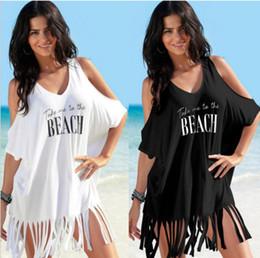 V Collar Sexy Ladies Maxi Vestido Carta Moda Impressão Strapless Capa Ups Borlas Pure Color Praia Popular 21yw I1 de