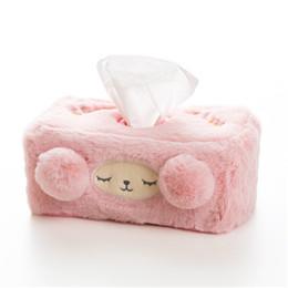 Pañuelos online-Lindo caja de pañuelos de peluche decoración para el hogar cubierta de papel de coche titular rollo de papel de escritorio de papel servilleta dispensador de bolsillo LZM050
