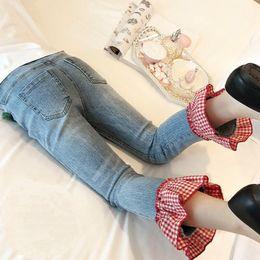 Calças de brim da forma das crianças s on-line-Varejo Ins Meninas xadrez retalhos jeans skinny incendiar calças de ganga justas Leggings Crianças roupas de grife roupa Pant Moda Infantil