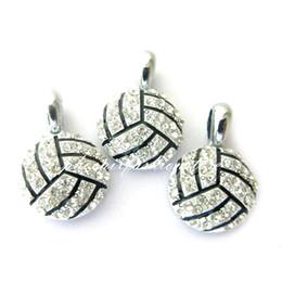 encantos de pingente de voleibol Desconto Desconto hot moda diy pingente de voleibol de cristal colar de pingente de acessórios para pulseira esporte charme jóias 15 * 15mm