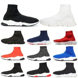red socks fashion Promo Codes - 2019 Designer Luxury Sock Shoes Speed Trainer Solid Black White Men Women Casual Shoes New fashion Women Boots Runner Sneakers 36-45