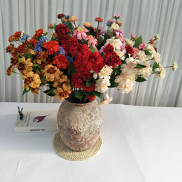 quality poles Promo Codes - Long Pole 7 Heads Artificial Flower Home Furnishing Decorate Multicolor Dahlia Popular Simulation Flowers With High Quality 6yl J1