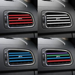 Régler le climatiseur en Ligne-10 Pièces / set Grille de sortie Climatiseur décoration U Forme bricolage Chrome Styling moulage voiture Air Vent Garniture bande de voiture-style