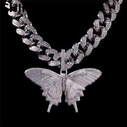 2019 dipinti di gattino Commercio all'ingrosso di gioielli Hip Hop Bling da uomo placcato in argento placcato argento blu con pendente grande farfalla animale ghiacciato