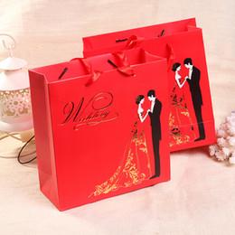 Sac en papier cadeau de mariage rouge traditionnel chinois pour mariage ? partir de fabricateur