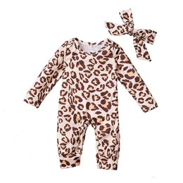 Leopard overall kinder mädchen online-Säuglings-Baby-Overall-Kleinkind-Mädchen-Leopard druckt Strampler Kids Designer-Kleidung Mädchen langärmlig Onesies Bogen Leopard Hair 3-18M 06