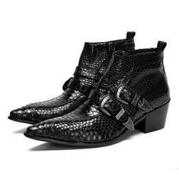 Plus Size Fashion Spitzschuh Alligator Man Handmade Cowboy männlich paty prom Schuhe echtes Leder Absatz Herren Stiefeletten