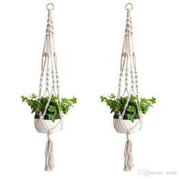 60pcs pianta gancio gancio vaso di fiori fatti a mano a maglia naturale fine cordoncino titolare cestello porta casa giardino balcone decorazione da