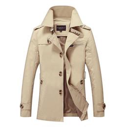 Männer trenchcoats britischen stil online-New Herren Trenchcoat Modedesigner Mann Medium-Long-Frühlings-Herbst britische Art dünne Jacken Windjacke Male Plus Größe M-5XL