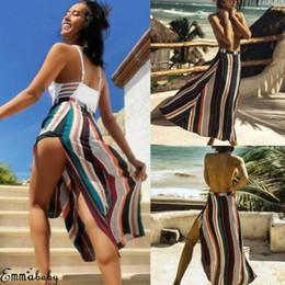 Le donne elastiche a vita alta Sexy Split Gonna a righe colorate Sundress A-line Summer Beach Holiday Long Gonne Nuovo stile 2019 da commercio all'ingrosso del pannello esterno di stile della sirena fornitori
