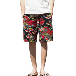 Roupas Masculinas Casual homens curtos Largo-breasted Harem Algodão Linho Largo-perna Pijamas Shorts de praia solta de