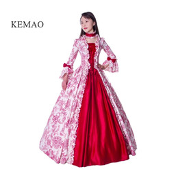 red victorian costume dresses Promo Codes - Free shipp Hot Sale Victorian Rococo Costume Women's Adults' Dress Purple Vintage Cosplay Flocked Long Sleeves Bell Ankle Length