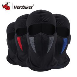 Capacetes de motocicleta do exército on-line-HEROBIKER Balaclava Verão Motocicleta Ciclismo Bicicleta Ski Army Helmet Proteção Rosto Cheio Moto Máscara