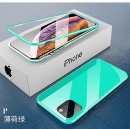 casi di stampa auricolare Sconti Per il 2019 nuovo iPhone 11 Pro Max dal design di lusso iphone 11 il caso della pagina di vetro coperture del telefono re magnetico guscio magnetico Bumpers