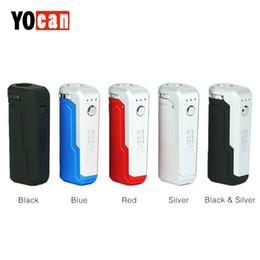 Scatola di sigarette Yocan UNI Vape E Mod per tutta la larghezza di cartucce vuote Preriscaldamento tensione regolabile Mod 5 colori cheap yocan mod da yocan mod fornitori