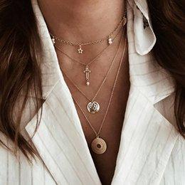 Collar de aleación bohemia online-Bohemian Gold Color Alloy Multilayered Colgantes Charm Necklac para las mujeres Cadenas de moda Corazón Rondas Collar Partido Boho Gargantillas