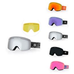 e92b2ac7eea Free Shipping Ski Snow Goggles Silver Mirror Anti fog Dual Lens Rimless Snowboard  Glasses