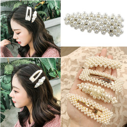 Argentina 2019 nuevas mujeres de la moda perla pinza de pelo broche de pelo Barrette Stick horquilla accesorios para el peinado del cabello para mujeres niñas Suministro