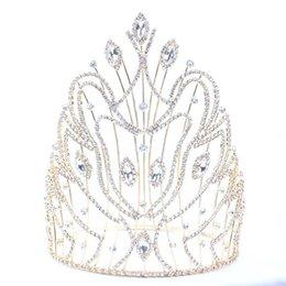 Ornamento del pelo de la novia de la boda online-Diadema para la boda de la corona de novia tiaras y coronas joyería del pelo de la reina pelo de la boda Rey diadema tocado Prom Adornos nupcial JCI102
