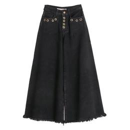 2b1cef43851 Primavera otoño Casual para mujer de talle alto, pantalones anchos,  pantalones vaqueros de pierna ancha, mujer mujer borla lavada destruida  algodón ...
