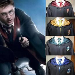 Abiti da casa online-Qualità Harry Potter Robe Cloak Tie Cape Halloween Costume Cosplay Per bambini Adulto Robe Grifondoro Serpeverde Corvonero 4 Mantello della casa QZZW117