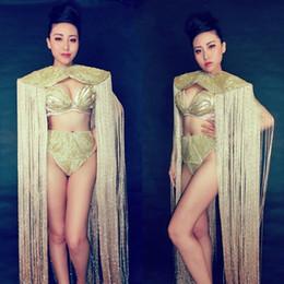 ballerina d'oro spandex Sconti Donna New Gold Long Nappe Cloak 3 pezzi set Stage Outfit Prom Star Show Modello Passerella Costume danzante Abiti da performance sexy