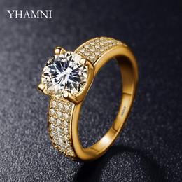 Argentina YHAMNI tiene anillos rellenos de oro amarillo sólido con el logotipo de 18KRGP con anillos de boda de compromiso para las mujeres R0010 de 2 quilates alrededor del circon CZ Zircon supplier round yellow gold engagement rings Suministro