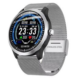 N58 ECG PPG relógio inteligente com eletrocardiógrafo ecg display holter heartrate monitor de pressão arterial mulheres pulseira inteligente pk DZ09 GT08 de