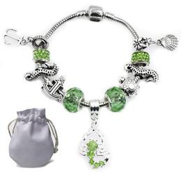 Otantik Gümüş Kaplama Charms Bilezik Fit Pandora Kadın Bileklik Faceted Murano Yeşil Kristal Cam Boncuk Akrep Kolye Takı P189 nereden