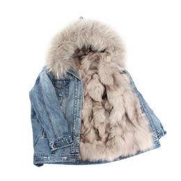 лисий мех с капюшоном парка Скидка Winter Outdoor High Fashion Street Womans Denim Fur Coat Real  Camping Hunting Parka Detachable Lining Hooded Snow Jackets