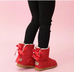 Crianças botas de couro meninas on-line-2020 Kids Shoes botas de neve de couro genuíno para crianças botas com laços Crianças Calçados Meninas neve Botas