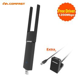 pilote de câble Promotion 2017 comfast puissant Pilote Gratuit Mini Wifi 1200Mbps 2.4G + 5.8G ac Adaptateur USB sans fil peut correspondre à USB3.0 Extension de câble utiliser de base