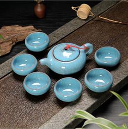 Conjuntos De Copo De Chá Robe Vermelho Gelo Crack Esmalte Teacup Porrtery Teaset 1 Bule De Chá 6 Xícaras De Chá Chinês Kung Fu Teapot Set de