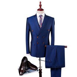 Куртка из королевской коровы онлайн-Double Breasted Suit Men Slim Fit Wedding Suits For Men Black Royal Blue Royal Blue Tuxedo Jacket+Pants+Vest
