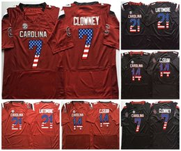 clowney jerseys Promo Codes - NCAA Mens 21 LATTIMORE 7 CLOWNEY 14 C.SHAW Men College South Carolina Gamecock Red Black Flag Limited Football Jerseys