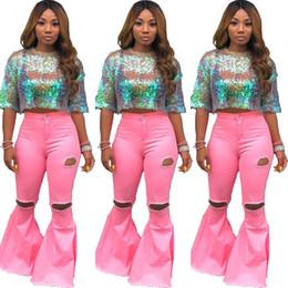 Ragazze di jeans online-Fori rosa caldo Strappati Jeans da donna per ragazze Jeans svasati a vita alta Jeans Pantaloni a campana Pantaloni casual Lunghezza intera Autunno estivo più recente